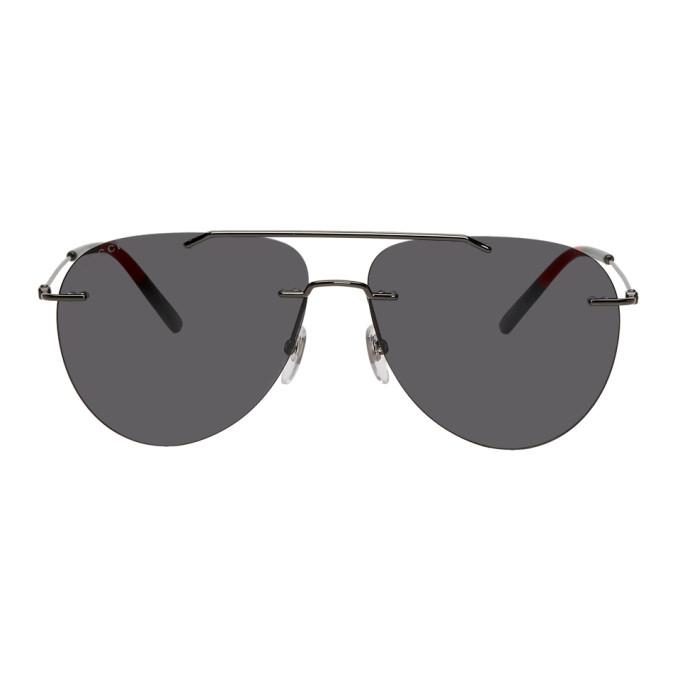 Gucci Gunmetal Masculine 80's Sunglasses