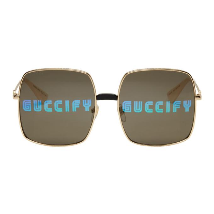 Gucci Gold Oversized Rectangular Sunglasses