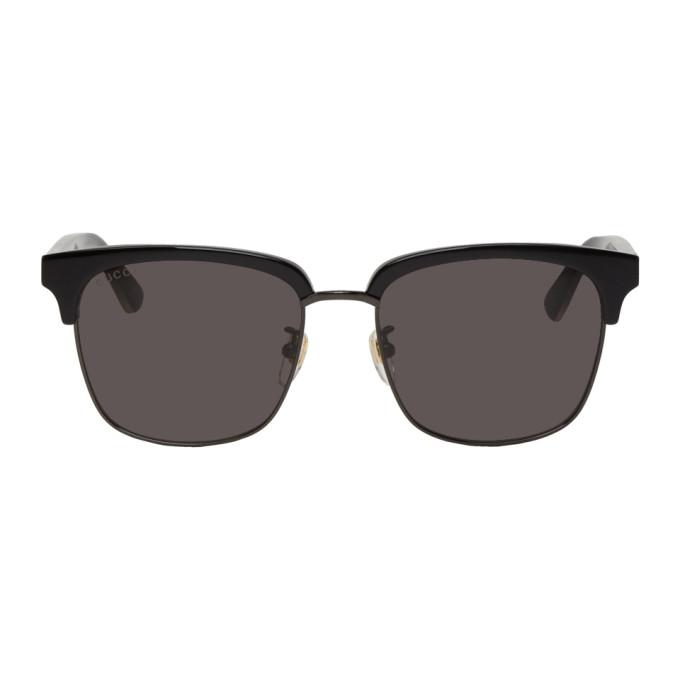Gucci Black Rectangular Half-Rim Sunglasses