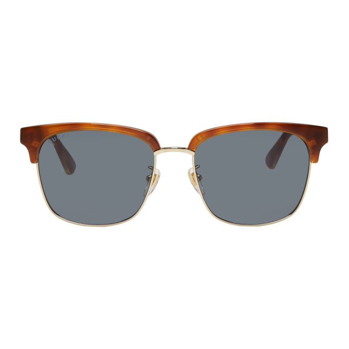 Gucci Tortoiseshell & Gold Rectangular Sunglasses