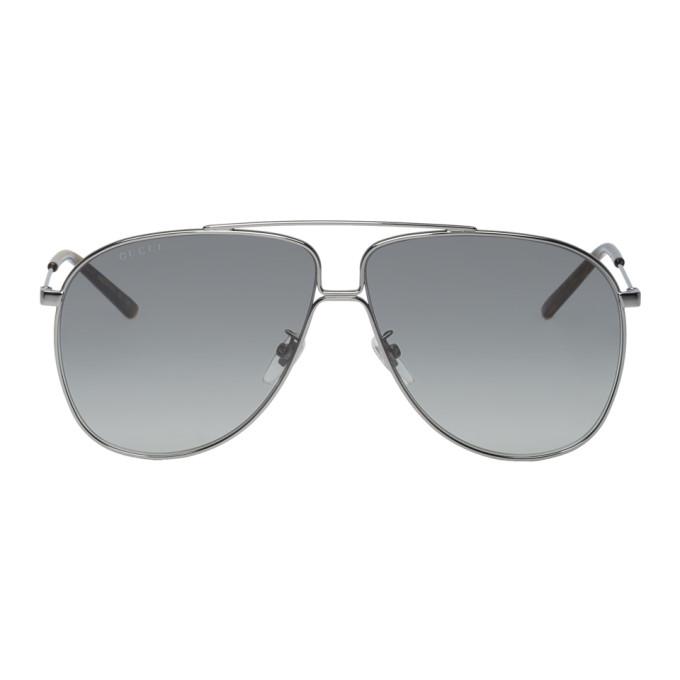 Gucci Gunmetal Ultra-Light Aviator Sunglasses