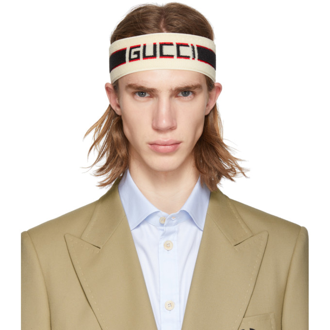 Gucci Off-White Headband And Wristband Set in 9260 White
