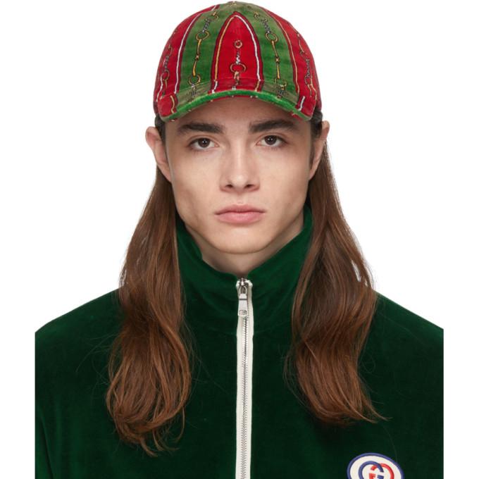 Gucci Casquette en chenille verte et rouge Horsebit Chain