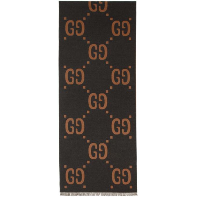 Gucci グレー and ブラウン ウール GG マフラー
