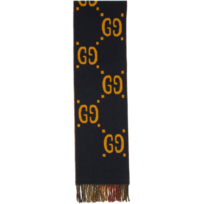 Gucci Navy and Red GG Tartan Plaid Scarf