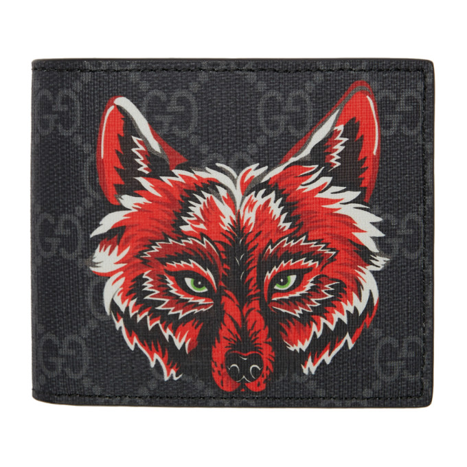701f948a440a Gucci Monogrammed Fox-Print Leather Wallet In 9789 Black ...