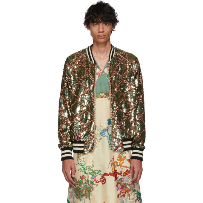 Gucci Green GG Sequin Bomber Jacket 191451M17500602