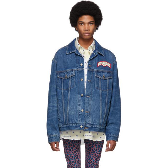 Gucci ブルー デニム パッチ オーバーサイズ ジャケット