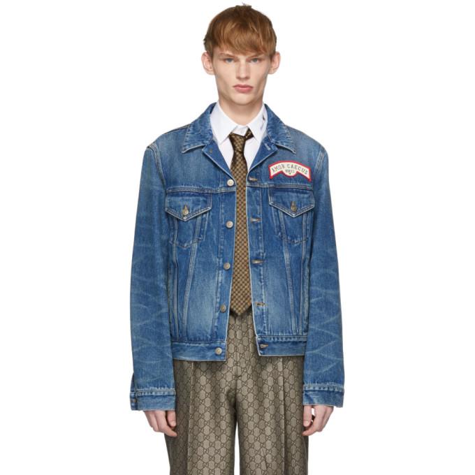Gucci ブルー デニム オーバーサイズ パッチ ジャケット