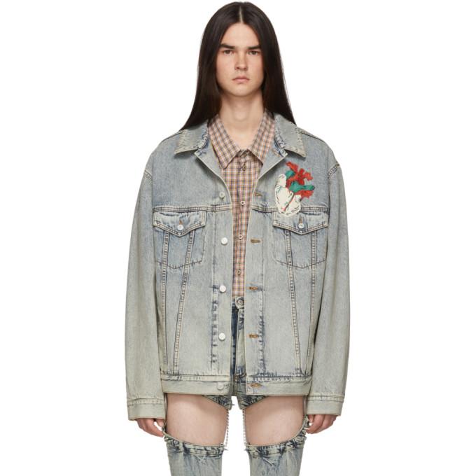 Gucci ブルー デニム オーバーサイズ エンブロイダリー ジャケット