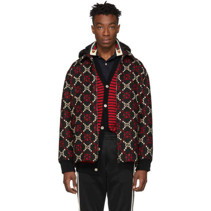 BUY Gucci Red and Black Wool Macro GG Diamond Jacket  0f7e8534dc5