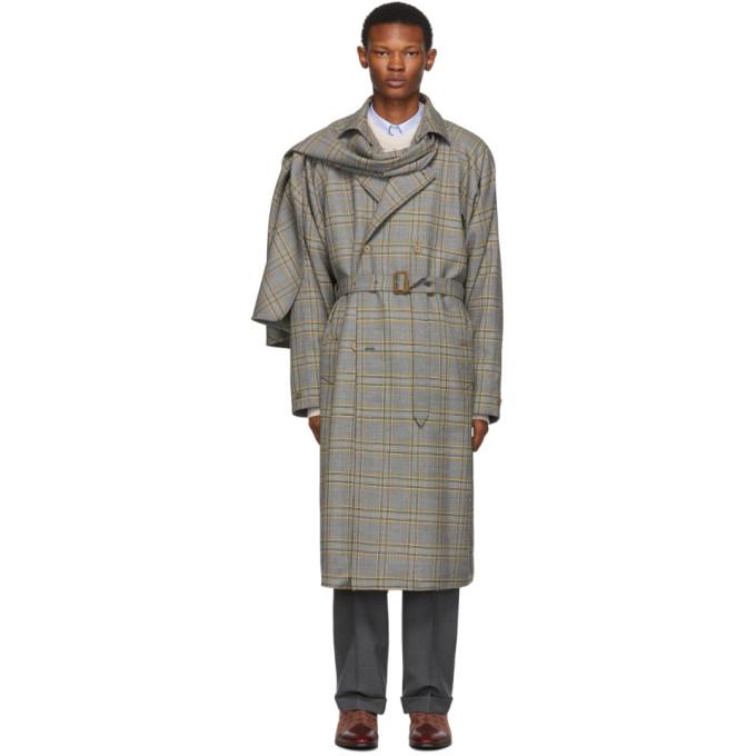 Gucci Trench a foulard amovible et carreaux gris et orange