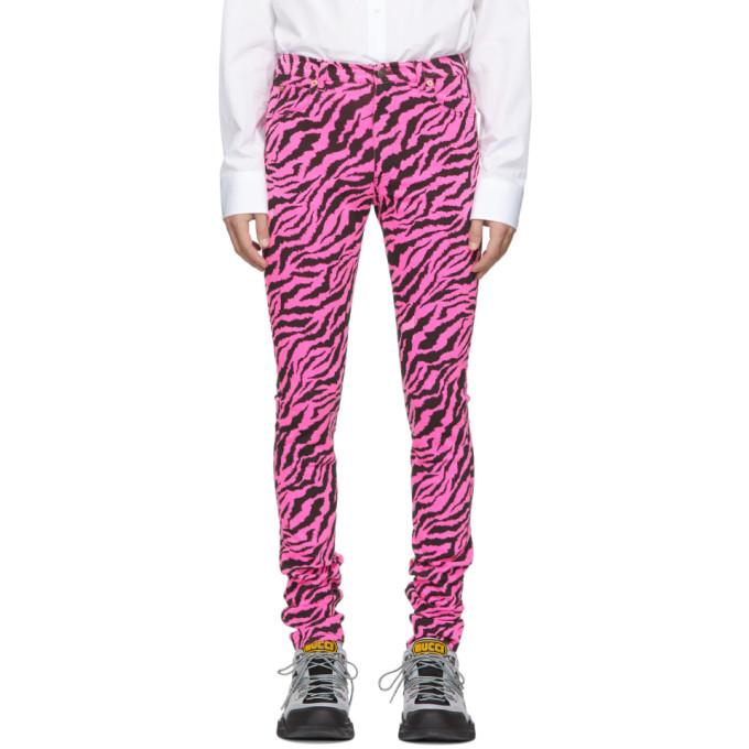 Gucci Pink & Black Zebra Skinny Jeans