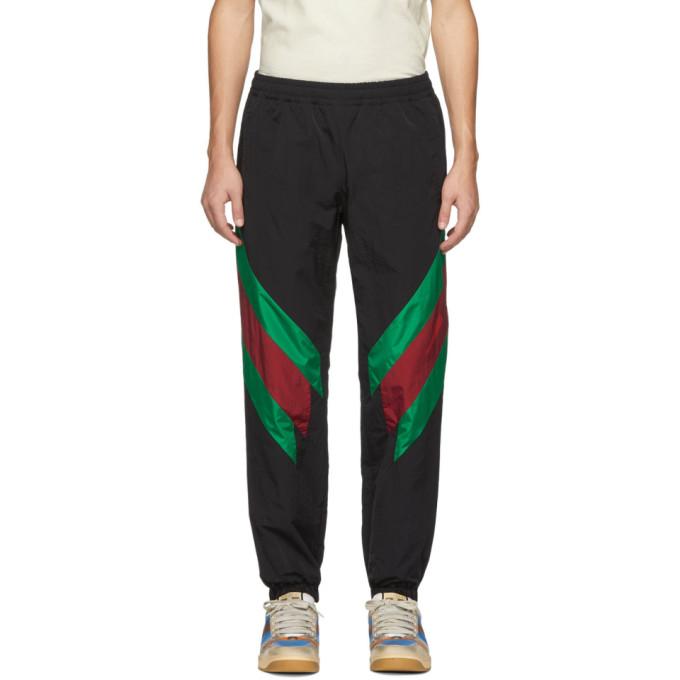 Men'S Web-Stripe Nylon Track Pants in 1060 Black