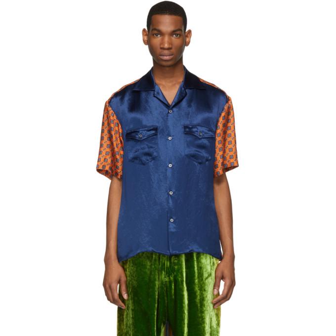 Gucci Chemise de bowling en soie bleue et orange