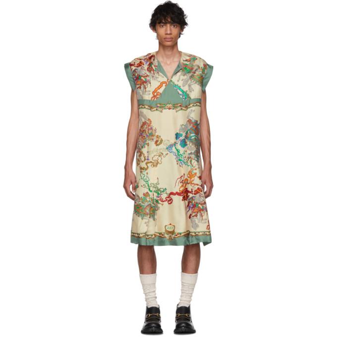 Gucci Chemise blanc casse et multicolore Roi Soleil Print