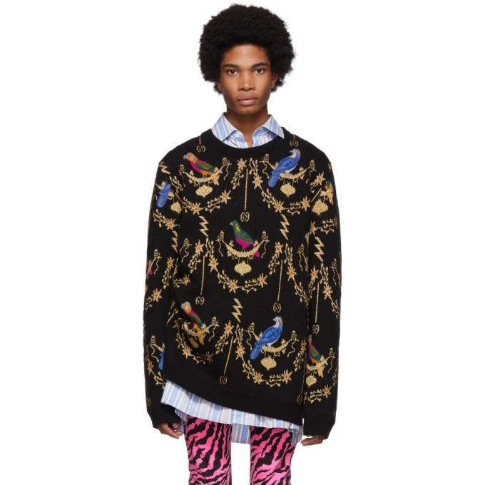 Gucci Black Voliere Jacquard Sweater