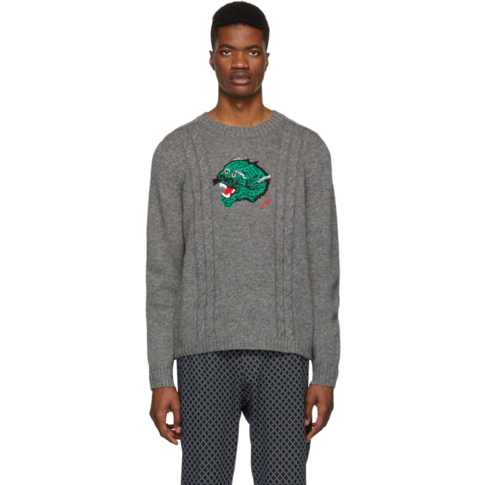 Gucci グレー ウール パンサー フェイス セーター