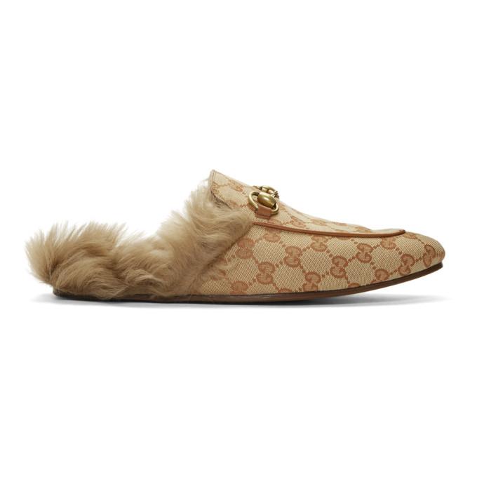 Gucci Flaneurs en toile beiges et bruns GG Princetown