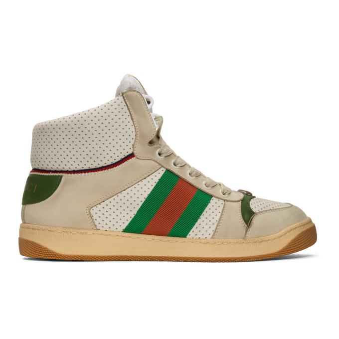 1312678b775 Gucci Screener Hike Leather High Top Sneakers In 9560 White ...