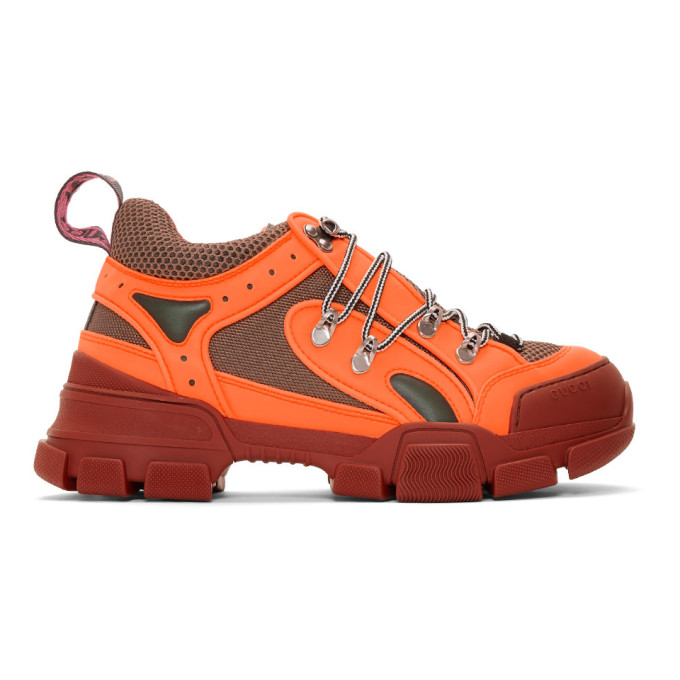 Gucci Flashtrek Reflective Rubber, Leather And Mesh Sneakers In Orange Multi
