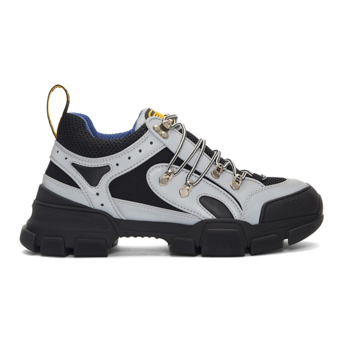 Gucci Flashtrek Reflective Rubber, Leather And Mesh Sneakers - Silver In 8168 Reflec