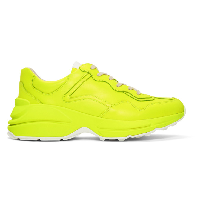 1071e8d80 Gucci Men's Rhyton Fluorescent Leather Sneakers In 7205 Yellow ...