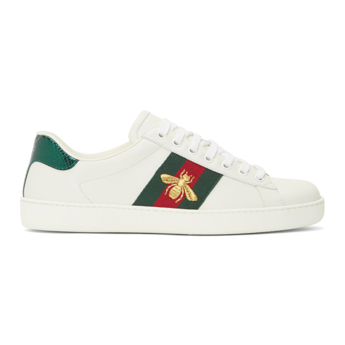 Gucci Ace Watersnake-Trimmed Embroidered Leather Sneakers In 9064 White