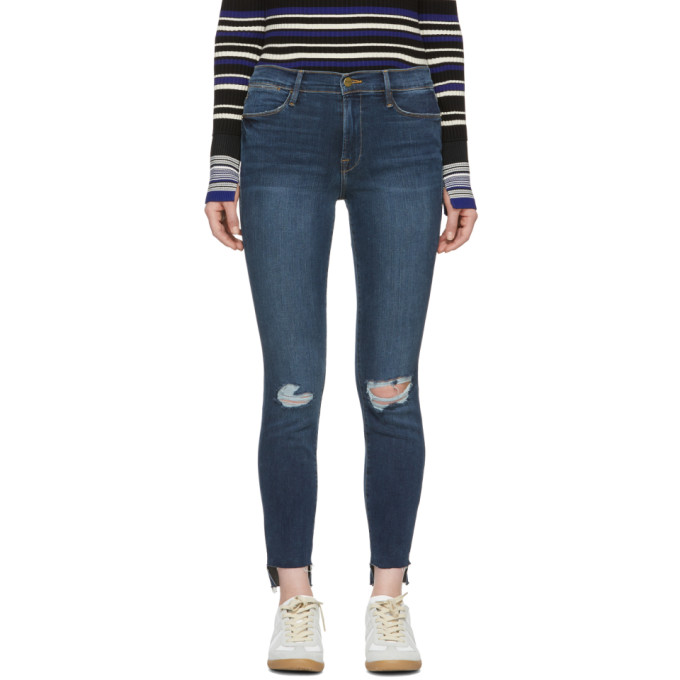 Frame Blue 'le High Skinny' Raw Stagger Jeans
