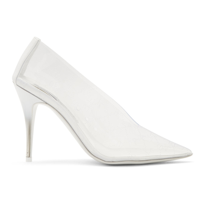 Stella McCartney Transparent and White Logo Heels