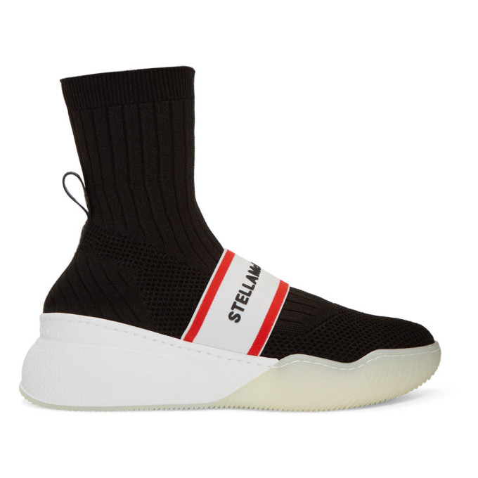 Stella McCartney Black Logo Loop Sock Sneakers