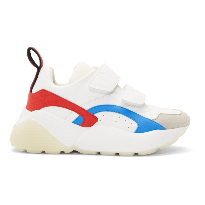 Stella McCartney White and Red Eclypse Strap Sneakers