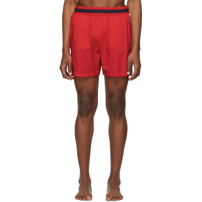 STELLA MCCARTNEY | Stella McCartney Red Medium-Length Swim Shorts | Goxip