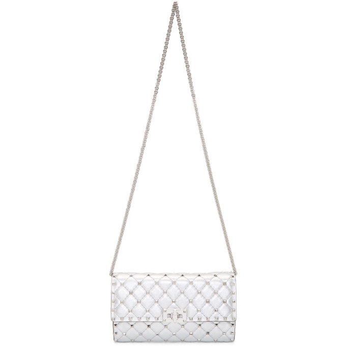 Valentino Silver Valentino Garavani Small Metallic Rockstud Spike Chain Bag