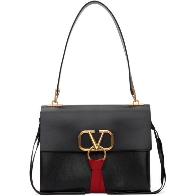 Valentino Black Valentino Garavani Medium Go Logo Shoulder Bag
