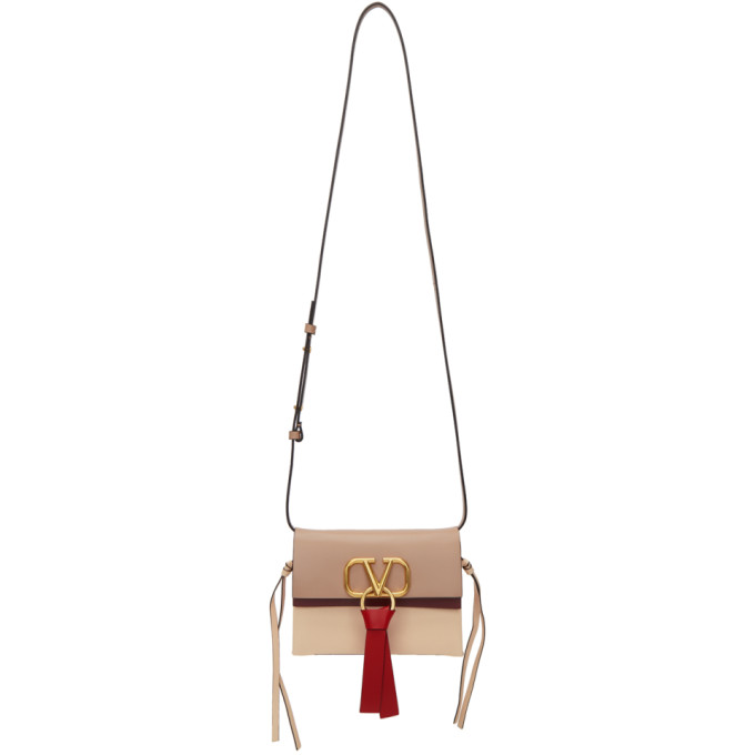 Valentino Tan and Pink Valentino Garavani Small Go Logo Bag