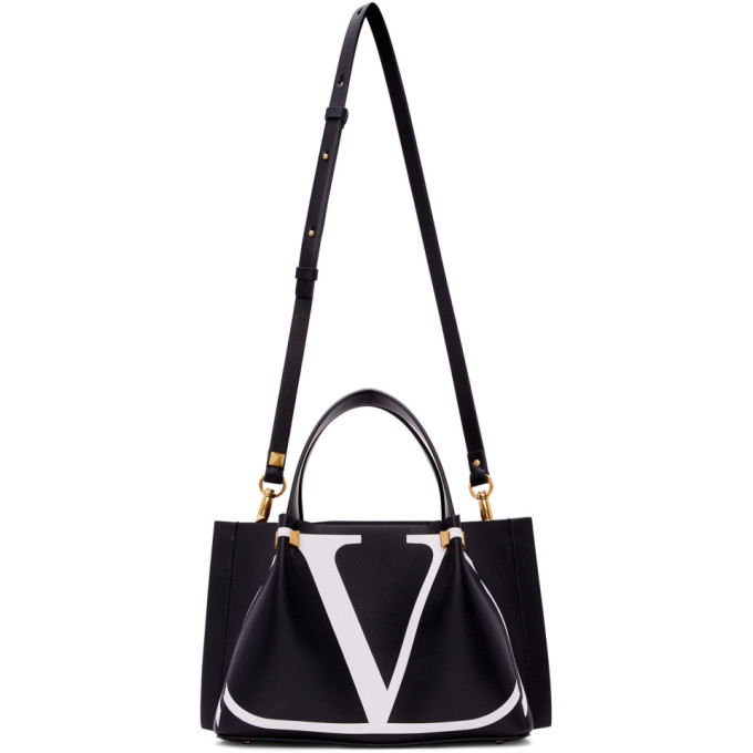 Valentino Black Valentino Garavani Small Go Logo Escape Shopper Tote