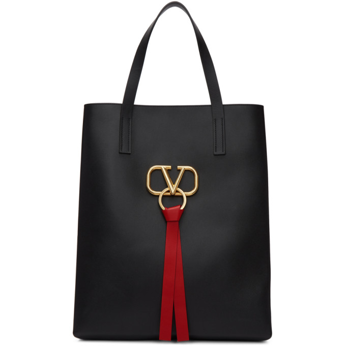 Valentino Black Valentino Garavani Large Go Logo North/South Shopper Tote
