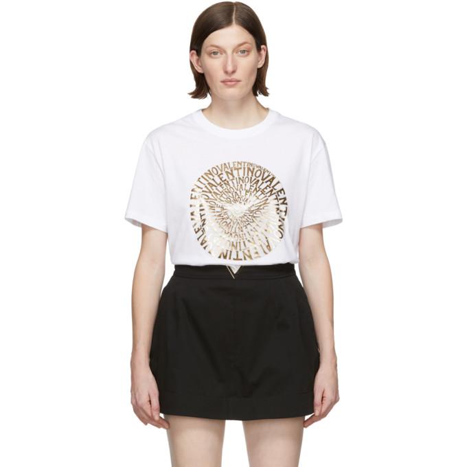 Valentino Logo-Print Cotton-Jersey T-Shirt In White