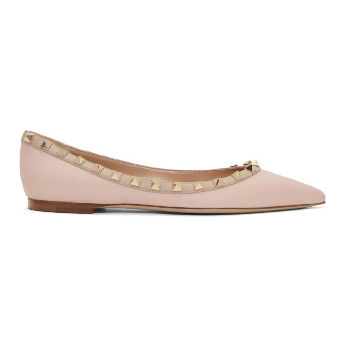 Valentino Pink Valentino Garavani Rockstud Ballerina Flats