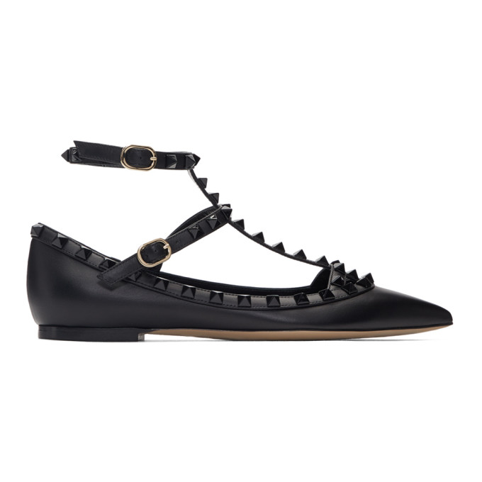 Valentino Black Valentino Garavani Rockstud Cage Ballerina Flats