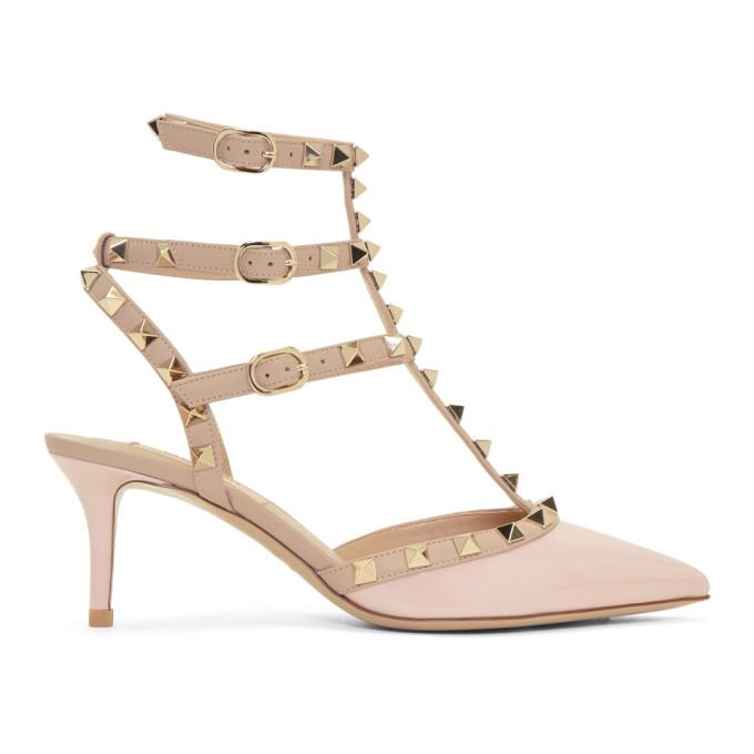 Valentino Pink Valentino Garavani Patent Rockstud Cage Heels