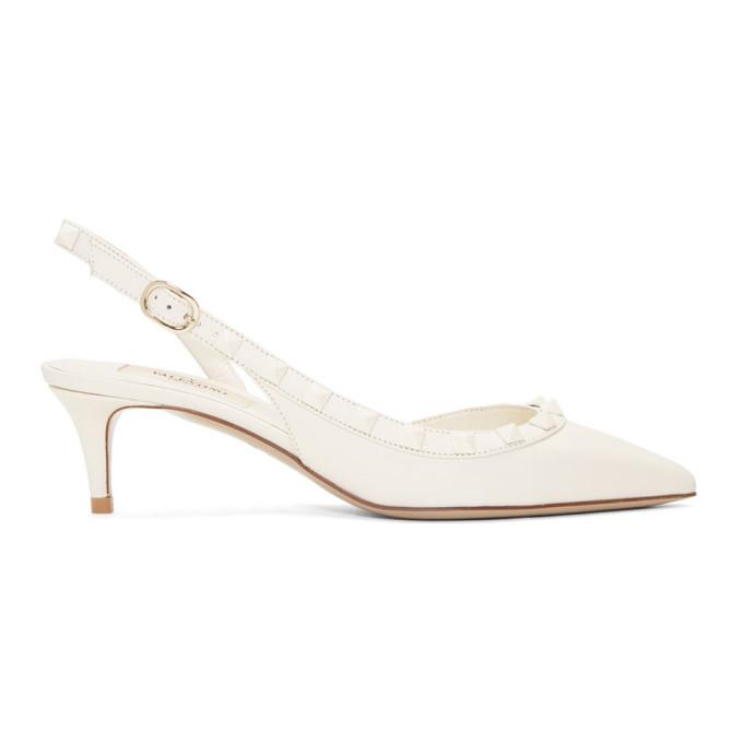Valentino White Valentino Garavani Rockstud Slingback Heels