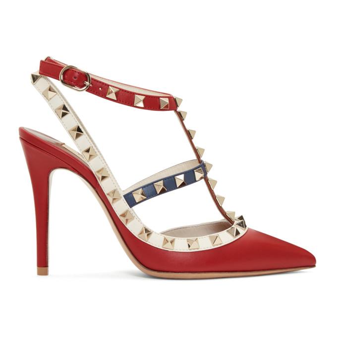 Valentino Multicolor Valentino Garavani Rockstud Ankle Strap Heels