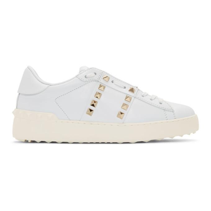 Valentino White Valentino Garavani 'Rockstud Untitled' Sneakers