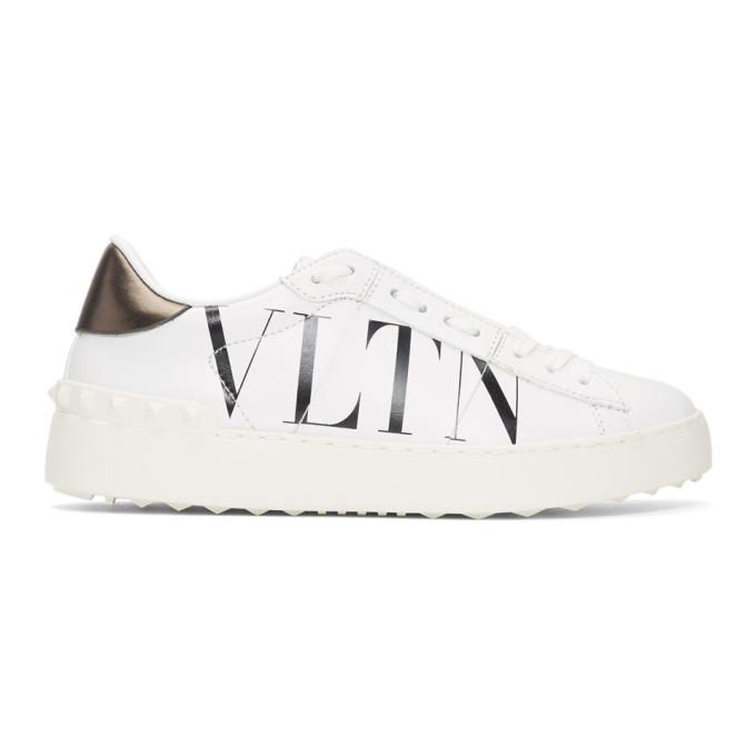 Valentino White & Black Valentino Garavani 'VLTN' Open Sneakers