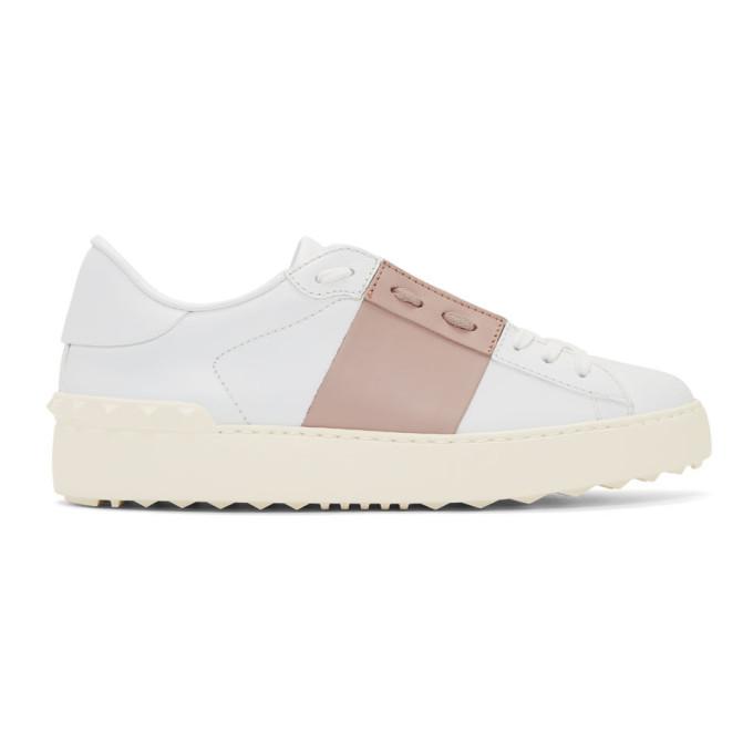 Valentino White & Pink Valentino Garavani Open Sneakers