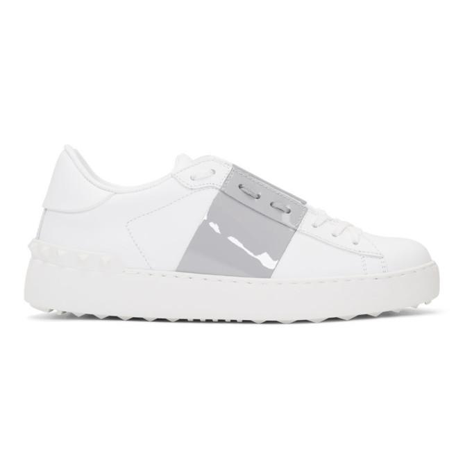 Valentino White & Grey Valentino Garavani Open Sneakers