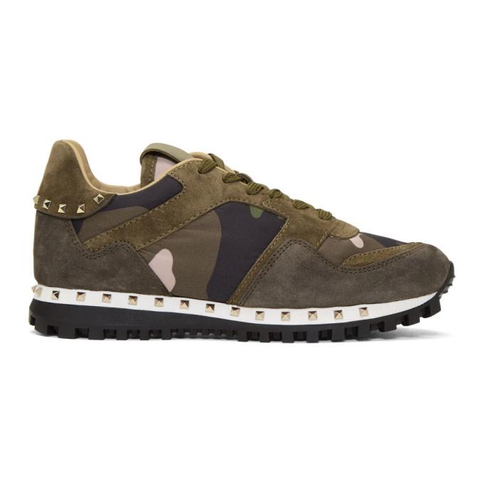 Valentino Green Valentino Garavani Camo Sole Stud Sneaker