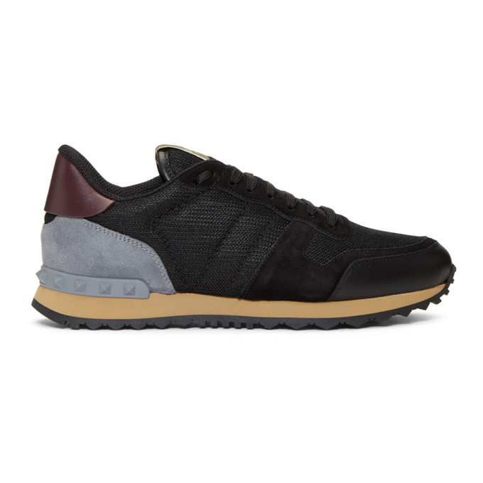 b911a104f11a8 Valentino Garavani Rockrunner Mesh, Leather And Suede Sneakers - Black